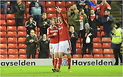 Marley Watkins celebrates during the Sky Bet League 1 match between Barnsley and Rochdale at Oakwell, Barnsley, England on 23 January 2016. Photo by Daniel Youngs.