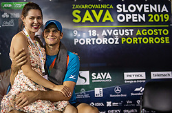 Blaz Rola of Slovenia with his wife after winning in 2nd Round of ATP Challenger Zavarovalnica Sava Slovenia Open 2019, day 6, on August 14, 2019 in Sports centre, Portoroz/Portorose, Slovenia. Photo by Vid Ponikvar / Sportida