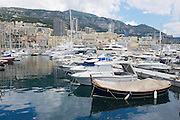 MONACO, MONACO - JUNE 06, 2015: View to the boats tied in the Monte Carlo harbour, Monaco.