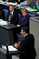 07 MAY 2010, BERLIN/GERMANY:<br /> Guido Westerwelle, FDP, Bundesaussenminister, Angela Merkel, CDU, Bundeskanzlerin, waehrend der Rede von Sigmar Gabriel, SPD Parteivorsitzender, (v.oben L. n. unten R.), waehrend der Bundestagsdebatte zur Uebernahme von Gewaehrleistungen zum Erhalt der fuer die Finanzstabilitaet in der Waehrungsunion erforderlichen Zahlungsfaehigkeit der Hellenischen Republik, der sog. Griechenland-Hilfe, Plenum, Deutscher Bundestag<br /> IMAGE: 20100807-01-052<br /> KEYWORDS: Buergschaft, Bürgschaft, Finanzstabilitaetsgesetz,