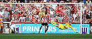 Kevin Bru scoring Ipswhich first goal during the Sky Bet Championship match between Brentford and Ipswich Town at Griffin Park, London, England on 8 August 2015. Photo by Matthew Redman.