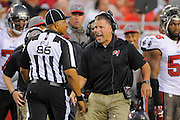 Tampa Bay Buccaneers head coach Greg Schiano yells at a referee during the BUcs game against the New Orleans Saints at Raymond James Stadium on Sept. 15, 2013 in Tampa, Florida. <br /> &copy;2013 Scott A. Miller