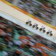 Track Cycling - Olympics: Day 6  Theo Reinhardt #110, Nils Schomber, #111, Kersten Thiele, #112 and Domenic Weinstein #113 of Germany in action during the Men's Team Pursuit first round in the track cycling competition at the Rio Olympic Velodrome August 12, 2016 in Rio de Janeiro, Brazil. (Photo by Tim Clayton/Corbis via Getty Images)