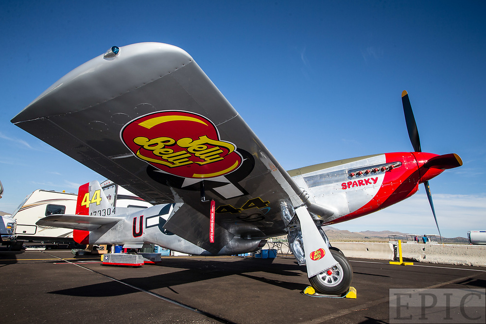 RENO, NV - SEPTEMBER 13: The airplane of Brant Seghetti named Sparky sits ready for todays heats at the Reno Championship Air Races on September 13, 2017 in Reno, Nevada. (Photo by Jonathan Devich/Getty Images) *** Local Caption *** Brant Seghetti