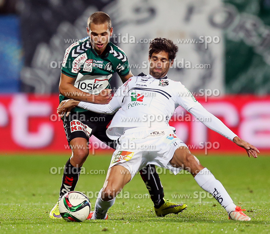 23.09.2015, Keine Sorgen Arena, Ried, AUT, OeFB Samsung Cup, SV Josko Ried vs RZ Pellets WAC, 2. Runde, im Bild Jacobo Maria Ynclan Pajares (WAC) und Florian Hart (SV Josko Ried) // during OeFB Cup, 2nd round Match between SV Josko Ried and RZ Pellets WAC at the Keine Sorgen Arena, Ried, Austria on 2015/09/23. EXPA Pictures © 2015, PhotoCredit: EXPA/ Roland Hackl