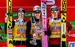 24.03.2019, Planica, Ratece, SLO, FIS Weltcup Ski Sprung, Skisprung, Finale, Siegerehrung, Gesamtweltcupwertung, im Bild v.l. Podium Gesamtweltcup2. Platz Stefan Kraft (AUT), Gesamtweltcupsieger Ryoyu Kobayashi (JPN), 3. Platz Kamil Stoch (POL) // f.l. 2nd placed Stefan Kraft of Austria, Overall Worldcup Winner Ryoyu Kobayashi of Japan, 3rd placed Kamil Stoch of Poland during the allover winner Ceremony for the FIS Ski Jumping World Cup Final 2019. Planica in Ratece, Slovenia on 2019/03/24. EXPA Pictures © 2019, PhotoCredit: EXPA/ JFK