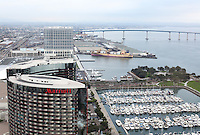 View of downtown San Diego California seen from the top of the Hyatt hotel.