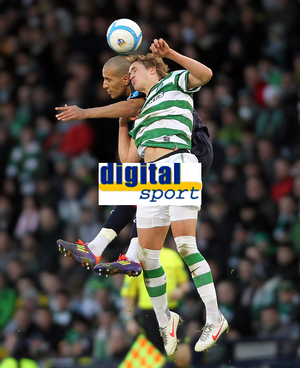 Football - Scottish League Cup Semi-Final - Celtic vs. Falkirk<br />  <br /> <br /> Thomas Rogne of Celtic competes with Farid El Alagui during the Celtic vs. Falkirk League Cup Semi Final match at Hampden Park , Glasgow on January 29th 2012<br /> <br /> <br /> Ian MacNicol/Colorsport