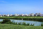 Vacation homes along Cape Charles beach, Virginiia, USA
