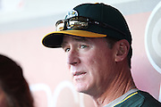 ANAHEIM, CA - APRIL 15:  Manager Bob Melvin #6 of the Oakland Athletics talks to the media in the dugout before the game against the Los Angeles Angels of Anaheim at Angel Stadium on Tuesday, April 15, 2014 in Anaheim, California. The Athletics won the game 10-9 in eleven innings. (Photo by Paul Spinelli/MLB Photos via Getty Images) *** Local Caption *** Bob Melvin