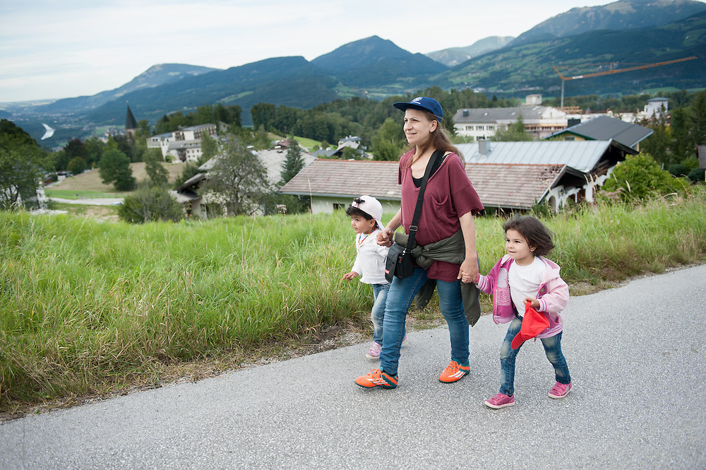 Afternoon, Wednesday 16th of September 2015. Aysha and her girls walk up the steep hill about a kilometre away from the German border.