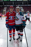 KELOWNA, CANADA - FEBRUARY 6:  Jack Finley #26 of the Spokane Chiefs poses at centre ice with Nolan Foote #29 of the Kelowna Rockets on February 6, 2019 at Prospera Place in Kelowna, British Columbia, Canada.  (Photo by Marissa Baecker/Shoot the Breeze)