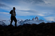 Hiker in the Southern Andes near Mt. Fitzroy, Patagonia, Argentina, South America