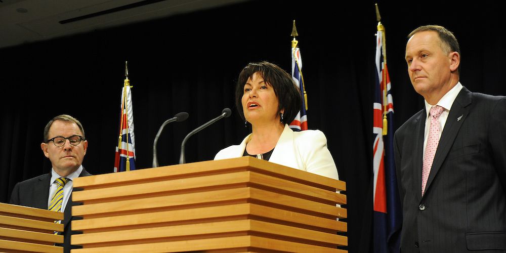 Education Minister Hekia Parata, centre, with Associate Education Minister, ACT leader John Banks, left and  Prime Minister John Key at the announcement of the first five Partnership Schools, Parliament, Wellington, New Zealand, Tuesday, September 17, 2013. Credit:SNPA / Ross Setford
