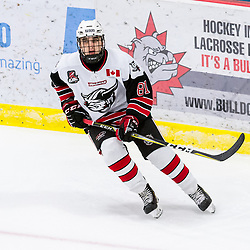 GEORGETOWN, ON - JANUARY 23: Spencer Hazell #81 of the Georgetown Raiders follows the play during the third period on January 23, 2019 at Gordon Alcott Memorial Arena in Georgetown, Ontario, Canada.<br /> (Photo by Ryan McCullough / OJHL Images)