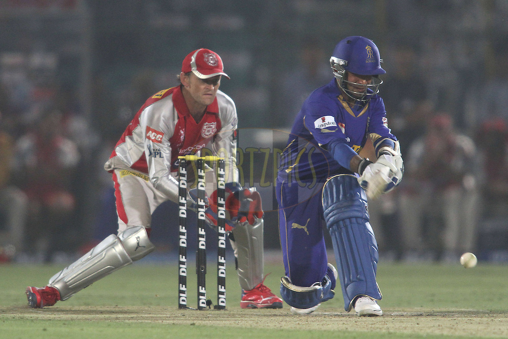 Ajinkya Rahane of the Rajasthan Royals sweeps a delivery to the boundary during match 4 of the the Indian Premier League ( IPL) 2012  between The Rajasthan Royals and the Kings X1 Punjab held at the Sawai Mansingh Stadium in Jaipur on the 6th April 2012..Photo by Shaun Roy/IPL/SPORTZPICS