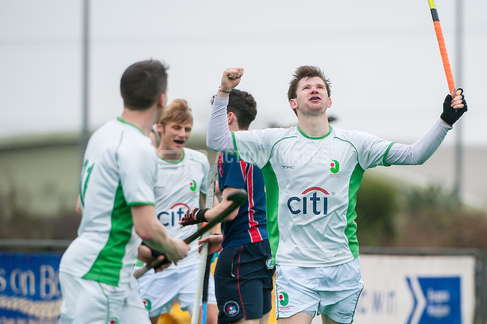 Canterbury's Harry Roberts celebrates scoring their second goal. Canterbury v Brooklands - Now: Pensions Hockey League Premier Division, Polo Farm, Canterbury, UK on 28 February 2015. Photo: Simon Parker