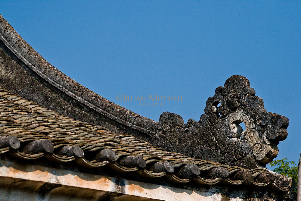 The ancient village of Yangmei is approximately 30 kilometres from the provincial capital of Nanning.  Qing dynasty roof detail of Huang Manor in ancient Yangmei.
