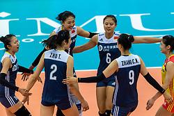 14-10-2018 JPN: World Championship Volleyball Women day 15, Nagoya<br /> China - United States of America 3-2 / Xia Ding #16 of China, Xinyue Yuan #1 of China, Xiangyu Gong #6 of China
