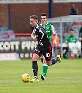 27th August 2017, Dens Park, Dundee, Dundee; Scottish Premier League football, Dundee versus Hibernian; Dundee's Scott Allan goes past Hibernian's John McGinn