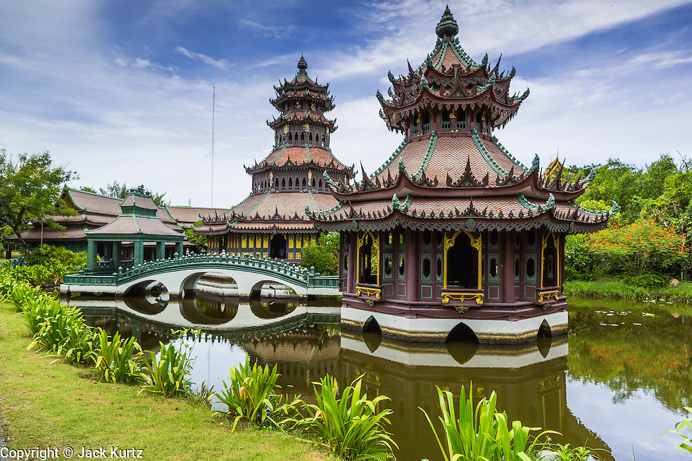 16 JULY 2014 - SAMUT PRAKAN, SAMUT PRAKAN, THAILAND: The Phra Kaew Pavilion is a octagonal shaped building at Ancient Siam. It's based on designs common in the Ayutthaya period of Siamese history. Ancient Siam is a historic park about 200 acres (81 hectares) in size in the city of Samut Prakan, province of Samut Prakan, about 90 minutes from Bangkok. It features historic recreations of important Thai landmarks and is shaped roughly like the country of Thailand.      PHOTO BY JACK KURTZ