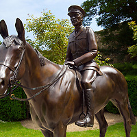 Statue at Carisbrooke Castle, Isle of Wight, UK,<br />Warrior was a Real War Horse<br />Foaled on the Isle of Wight in 1908, Warrior went to war on the Western Front with Winston Churchill's great friend, General Jack Seely, in 1914. There he survived all imaginable disasters, was active in many famous battles including those at the Somme and Ypres and he came back four years later.<br />Eight million other horses and mules did not.<br />Returning with Jack Seely to his native Isle of Wight in 1918, he lived on until the grand old age of 33, even winning a point to point four years to the day that he had led the charge at Moreuil Wood.<br />His obituary in the Evening Standard in 1941 read 'Horse the Germans Could Not Kill'.