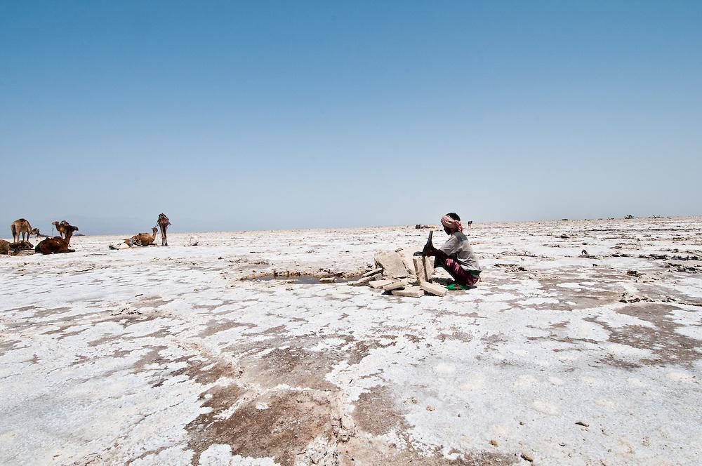 Artisanal salt mining, Danakil Depression, Ethiopia.