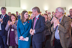 Pictured: Alistair Carmichael, MSP, Christine Jardine, MP,  Willie Rennie; and Mike Rumbles congratulate Jo Swinton on her speech.<br /> <br /> The Scottish Liberal Democrats stalwarts gathered today in Dunfermline for their Autumn Conference<br /> <br /> Ger Harley | EEm 11 November 2017