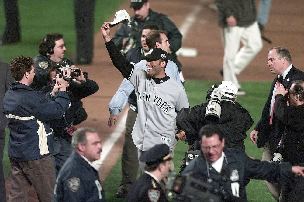 NEW YORK- OCTOBER 26, 2000: Mariano Rivera and the New York Yankees celebrate winning the 2000 World Series at Shea Stadium October 26. (Photo by Ron Vesely)