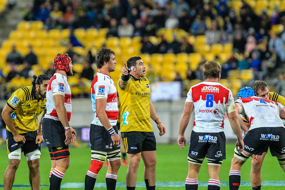 Jeffery Toomaga-Alleny calls during the Super rugby (Round 12) match played between Hurricanes  v Lions, at Westpac Stadium, Wellington, New Zealand, on 5 May 2018.  Hurricanes won 28-19.