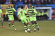 Forest Green Rovers Manny Monthe(3) scores 3-2 during the Vanarama National League match between Barrow and Forest Green Rovers at Holker Street, Barrow, United Kingdom on 28 January 2017. Photo by Mark Pollitt.