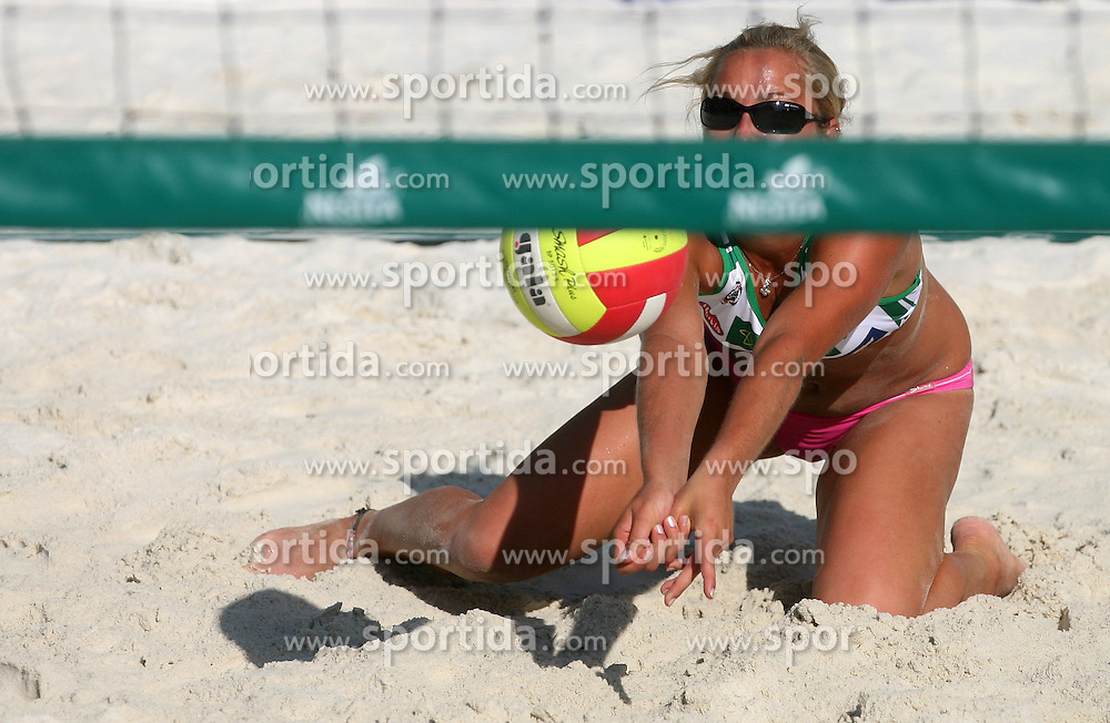 Simona Fabjan (Champion Team) at qualifications for 14th National Championship of Slovenia in Beach Volleyball and also 4th tournament of series TUSMOBIL LG presented by Nestea, on July 25, 2008, in Kranj, Slovenija. (Photo by Vid Ponikvar / Sportal Images)/ Sportida)