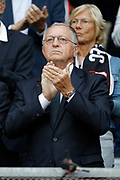 Jean-Michel Aulas (Olympique Lyonnais) during the French championship L1 football match between Rennes v Lyon, on August 11, 2017 at Roazhon Park stadium in Rennes, France - Photo Stephane Allaman / ProSportsImages / DPPI