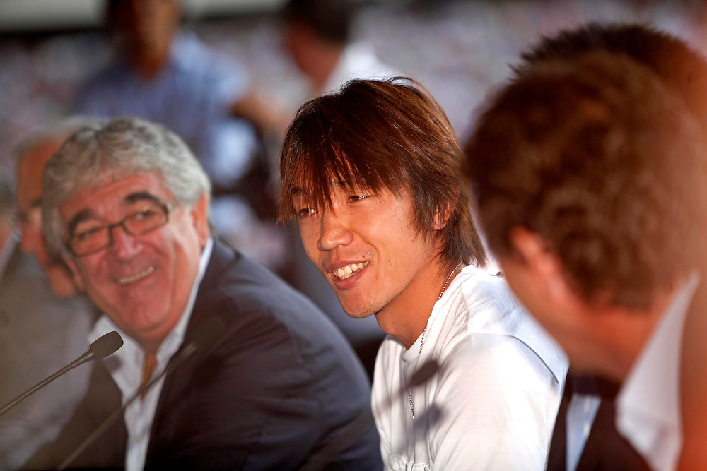 """July 13th. 2009. Official presentation of Shunsuke Nakamura as a  new player of the R.C.D. Espanyol of Barcelona. More than seven thousand supporters and numerous mass media have been present  in the presentation of the new player of the team of first Spanish division league  """"La Liga"""". In the image  the Japanesse player with the president of R.C. D. Espanyol, Mr. Daniel Sanchez Llibre, on his right side."""