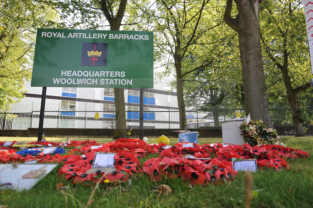 &copy; Licensed to London News Pictures. 23/08/2013<br />  Lee Rigby flowers and a headstone outside Royal Artillery Barracks Woolwich in memory of the murdered soldier.<br /> Photo credit :Grant Falvey/LNP