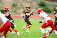 KELOWNA, BC - AUGUST 17:   Ethan Newman #6 of Okanagan Sun looks for the pass against the Westshore Rebels at the Apple Bowl on August 17, 2019 in Kelowna, Canada. (Photo by Marissa Baecker/Shoot the Breeze)