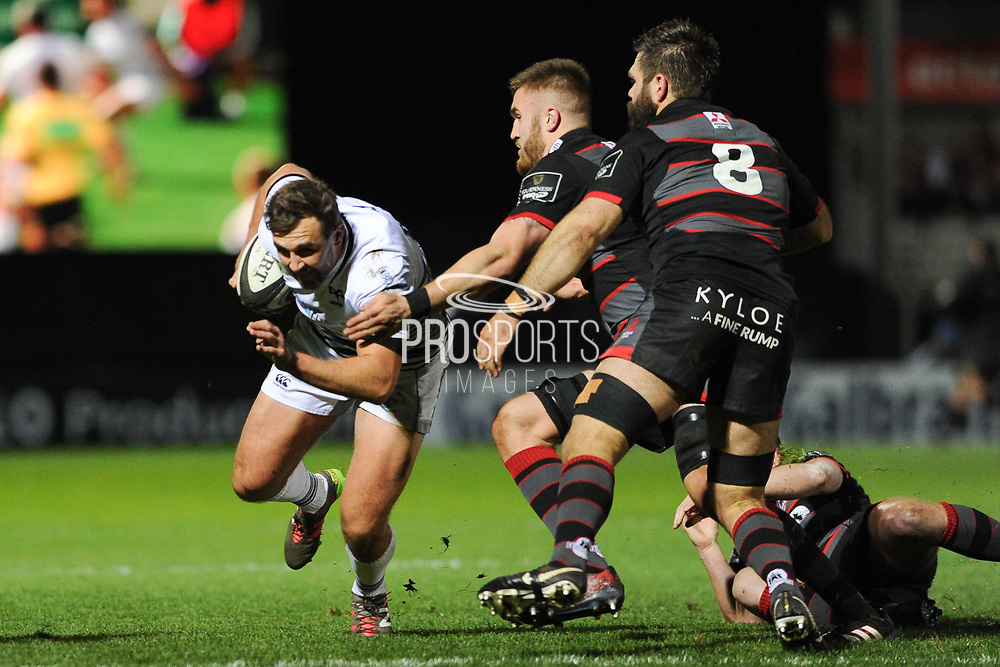 Ashley Beck drives forward during the Guinness Pro 14 2017_18 match between Edinburgh Rugby and Ospreys at Myreside Stadium, Edinburgh, Scotland on 4 November 2017. Photo by Kevin Murray.