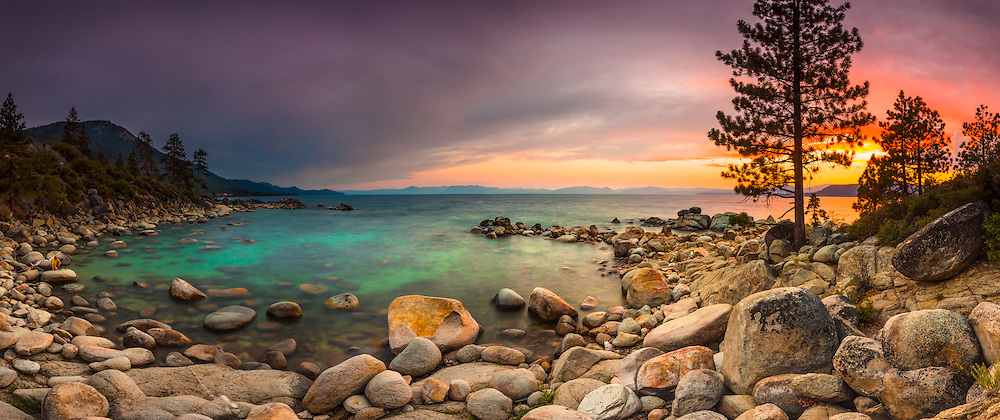 """Tahoe Boulders at Sunset 13"" - Stitched panoramic photograph taken at sunset of boulders near Hidden Beach, Lake Tahoe."