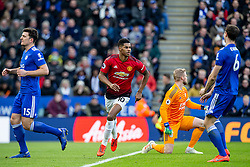 February 3, 2019 - Leicester, England, United Kingdom - Marcus Rashford of Manchester United turns to celebrate after scoring during the Premier League match between Leicester City and Manchester United at the King Power Stadium, Leicester on Sunday 3rd February 2019. (Credit Image: © Mi News/NurPhoto via ZUMA Press)