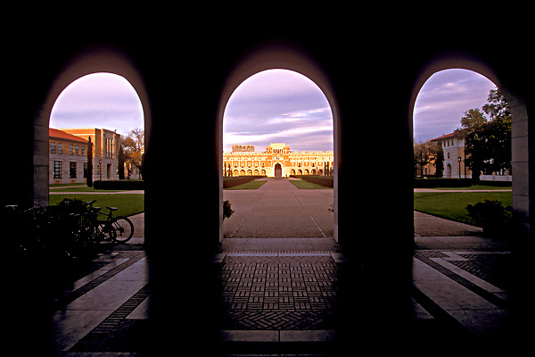 Stock photo of the Rice University campus archways