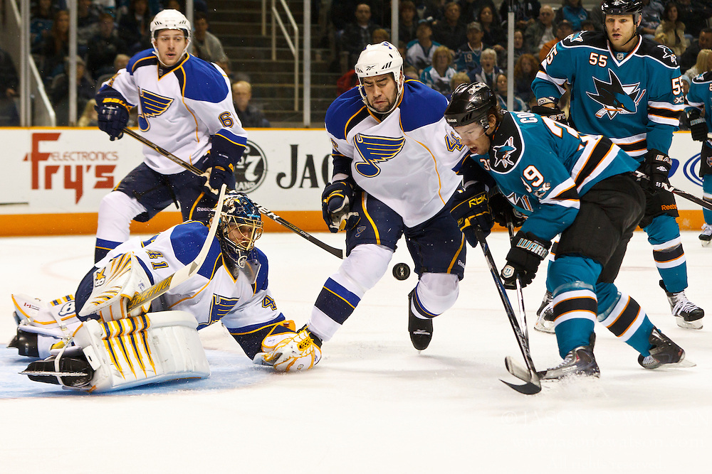 March 19, 2011; San Jose, CA, USA;  St. Louis Blues goalie Jaroslav Halak (41) saves a shot from San Jose Sharks center Logan Couture (39) during the first period at HP Pavilion. Mandatory Credit: Jason O. Watson / US PRESSWIRE