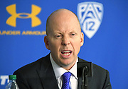 Nov 6, 2019; Los Angeles, CA, USA; UCLA Bruins head coach Mick Cronin reacts at a press conference after the game against Long Beach State at Pauley Pavilion. UCLA defeated Long Beach State 69-65 in Cronin's first game as UCLA coach.