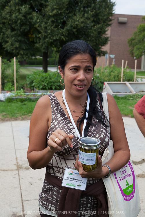 Visit to FoodShare's Bendale School Garden by Will and Erika Allen and Miguel Salcines Lopez, Isis Salcines Milla, Brian Conway, Mary Roufail, Alvaro Venturelli