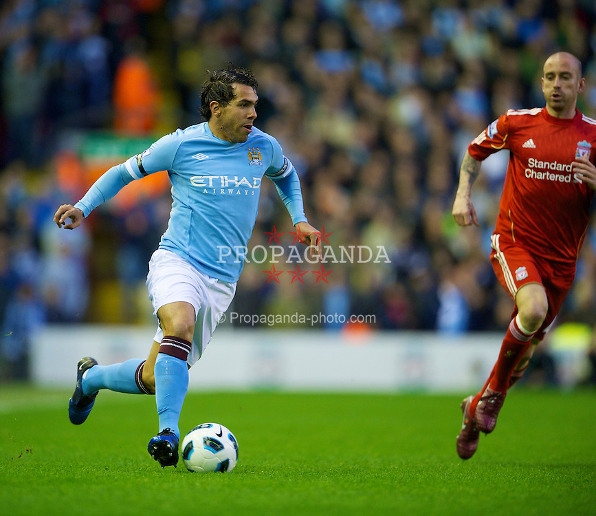 LIVERPOOL, ENGLAND - Monday, April 11, 2011: Manchester City's Carlos Tevez in action against Liverpool during the Premiership match at Anfield. (Photo by David Rawcliffe/Propaganda)
