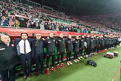 14.11.2016, Stadion Miejski, Wroclaw, POL, Testspiel, Polen vs Slowenien, im Bild Adam Nawalka poland trener head coach hymn // during the international friendly football match between Poland vs Slovenia at the Stadion Miejski in Wroclaw, Poland on 2016/11/14. EXPA Pictures &copy; 2016, PhotoCredit: EXPA/ Newspix/ Sebastian Borowski<br /> <br /> *****ATTENTION - for AUT, SLO, CRO, SRB, BIH, MAZ, TUR, SUI, SWE, ITA only*****
