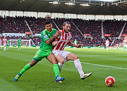 STOKE-ON-TRENT, ENGLAND - Saturday, April 30, 2016: Sunderland's DeAndre Yedlin in action against Stoke City's Erik Pieters during the FA Premier League match at the Britannia Stadium. (Pic by David Rawcliffe/Propaganda)