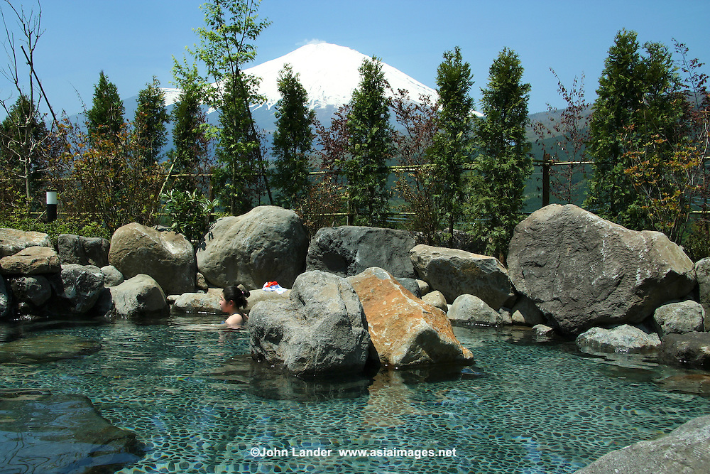 "Tenkei Hot Springs near Mt Fuji has a variety of baths, including this ""rotemburo"" or outdoor bath with Mt Fuji in background."