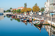 Traditional Colourful boats (barcos moliceiros Originally used for collecting seaweed) reflecting in the calm water of the canal central in Aveiro, Portugal