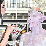 Screenface London, make up artist by Zoe Richardson and model Lucy barylski - avant-garde high fashion demo at IMATS London on 18 May 2019,  London, UK.