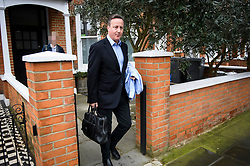 **Image pixelated to hide daughters face**<br /> © Licensed to London News Pictures. 12/03/2019. London, UK. Former British Prime Minster DAVID CAMERON is seen at his London home on the day that MPs are due to hold a 'meaningful vote' on current Prime Minister Theresa May's Brexit deal. Photo credit: Ben Cawthra/LNP
